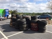 Tire recycling at Great American Cleanup event