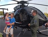 Helicopter and people at National Night Out 2018