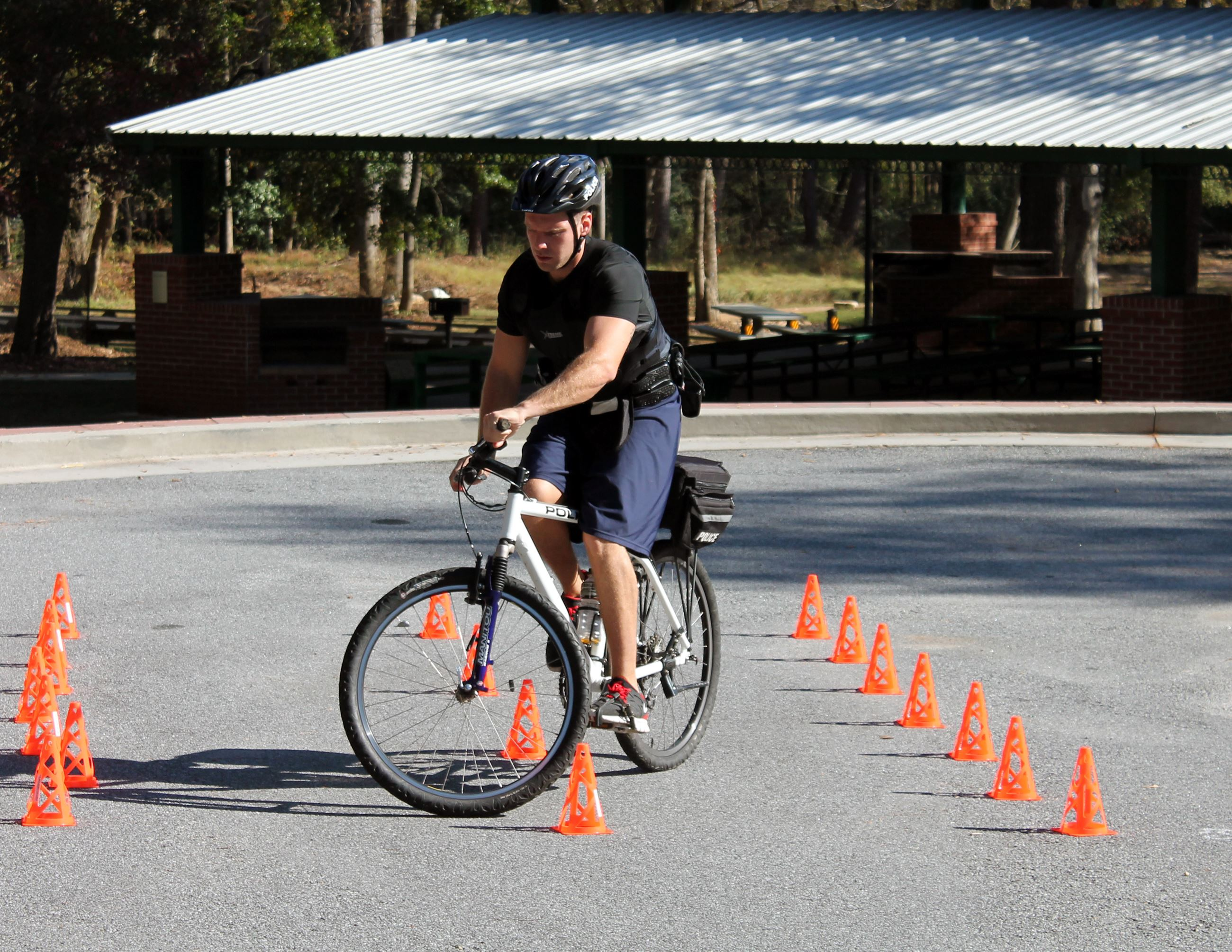 An officer on a bicycle undergoing Bicycle Patrol Training.