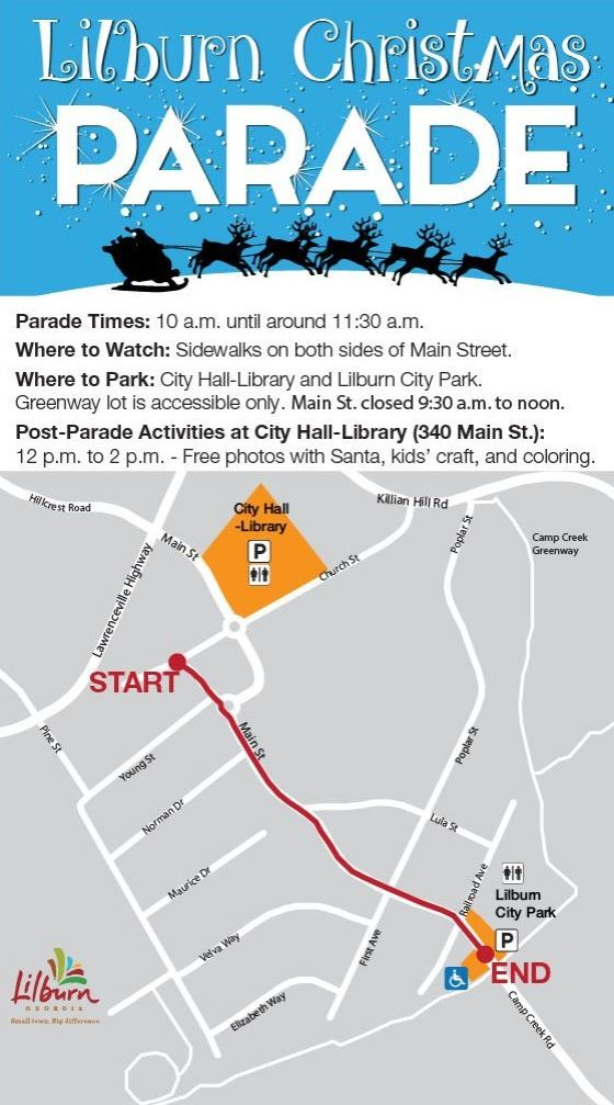 Christmas Parade map and information for 12.8.18