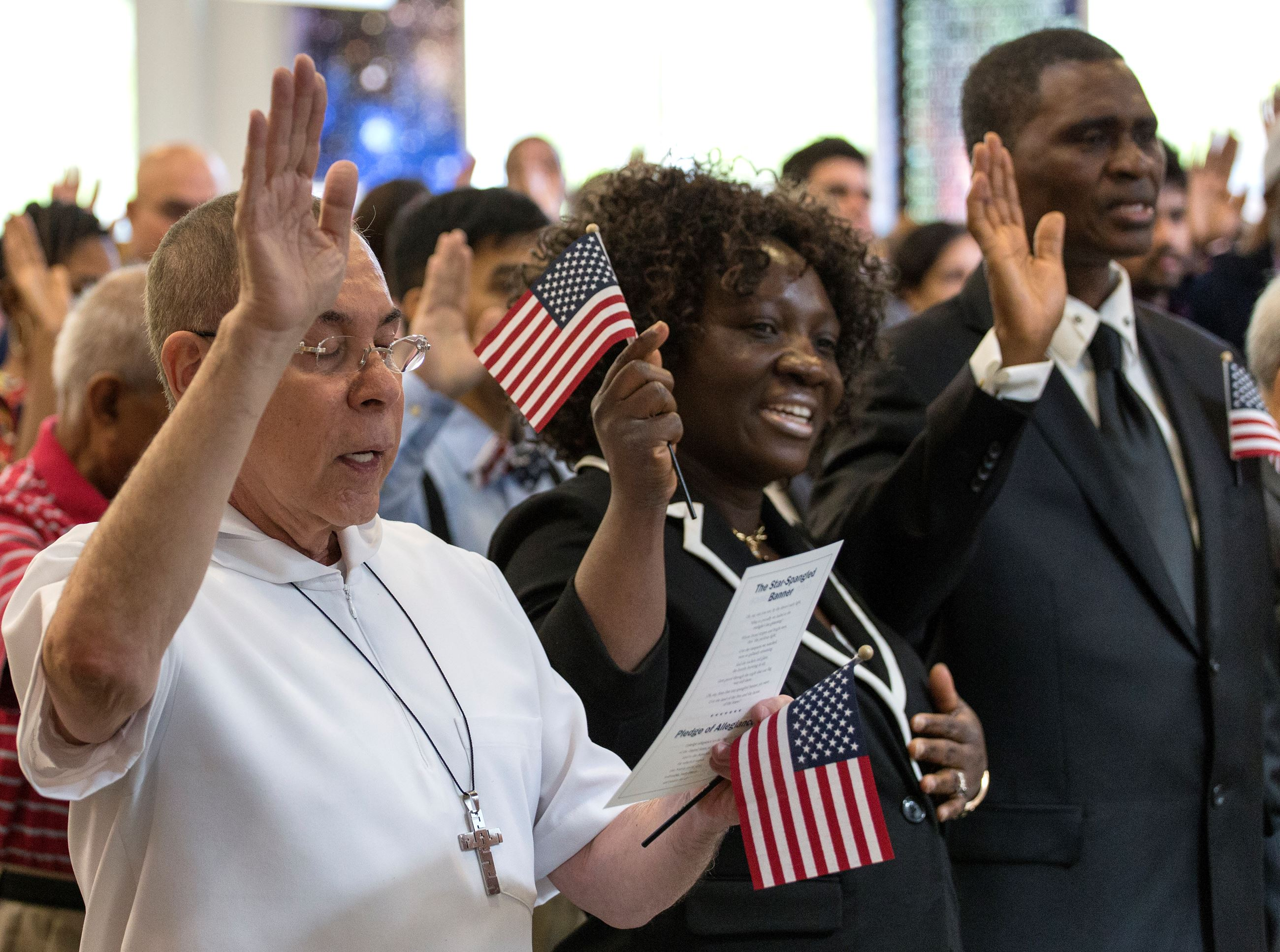 New US citizens upon completion of a course at the library