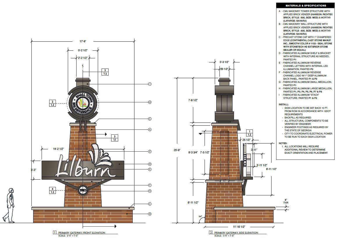 Gateway monument rendering with elevations