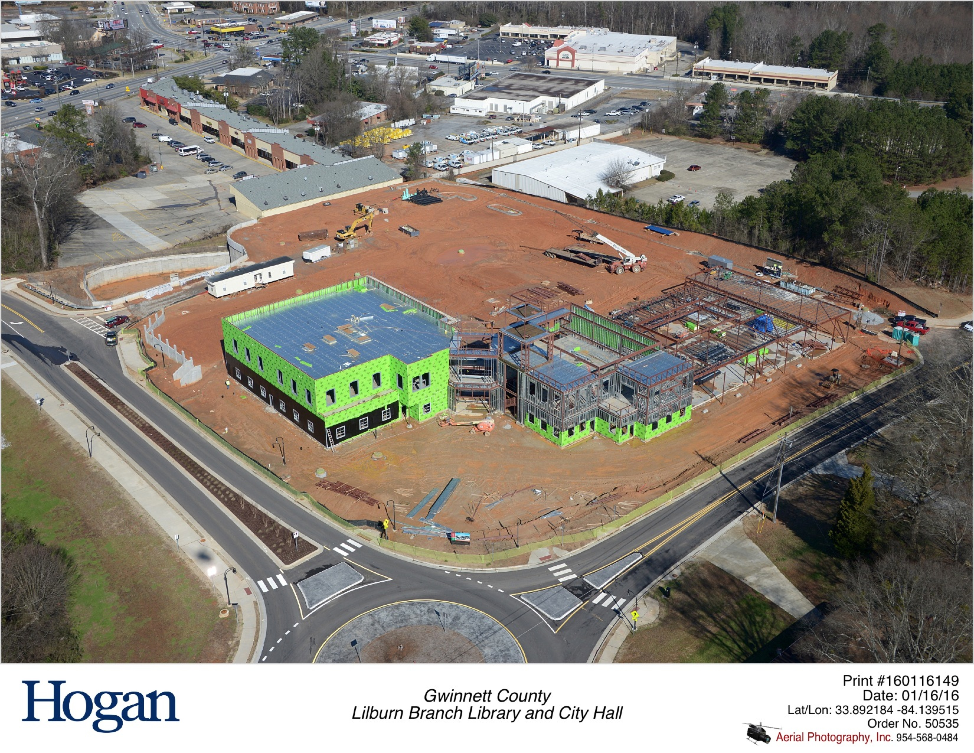 January 2016 Aerial Photo of City Hall and Library Construction Site