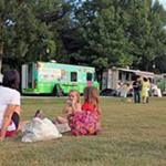 Food trucks and attendees